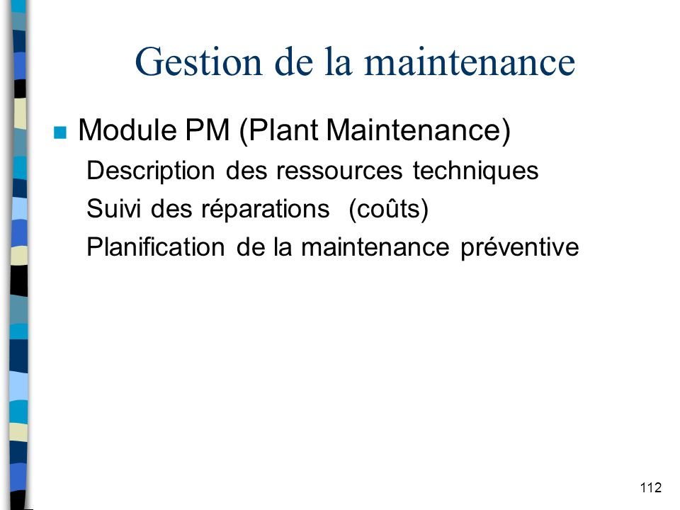 Gestion de la maintenance