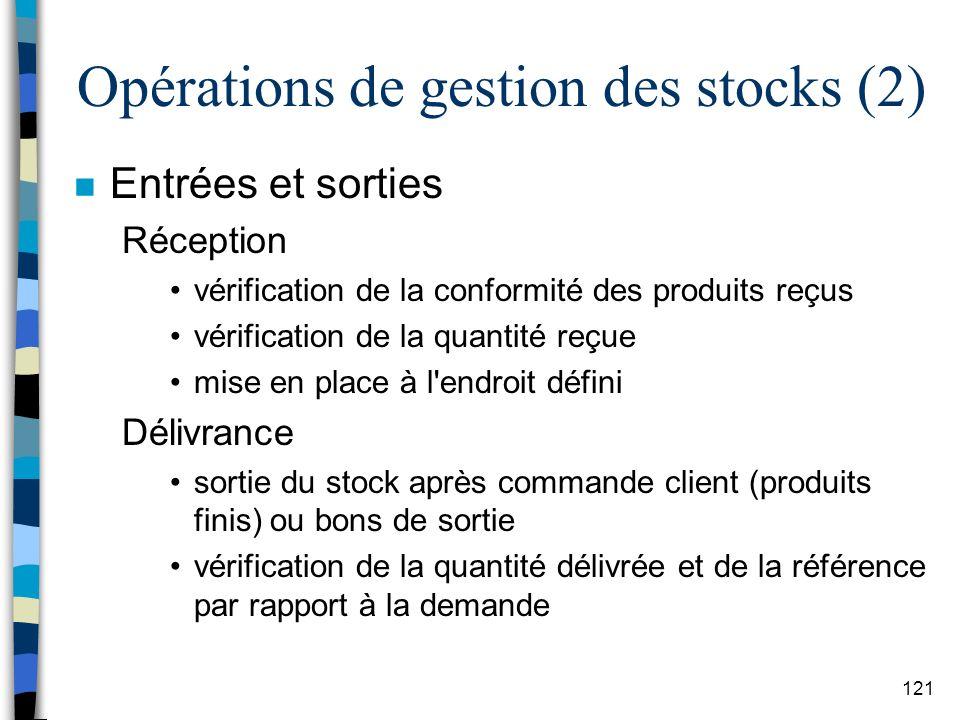 Opérations de gestion des stocks (2)