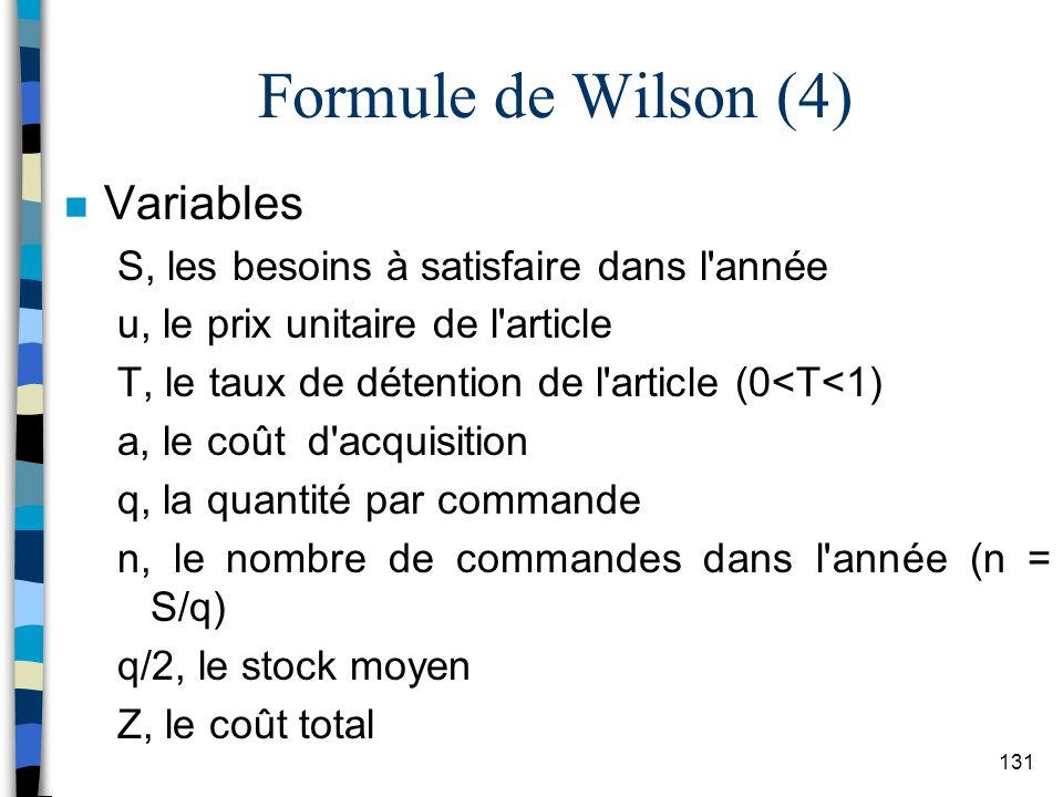 Formule de Wilson (4) Variables