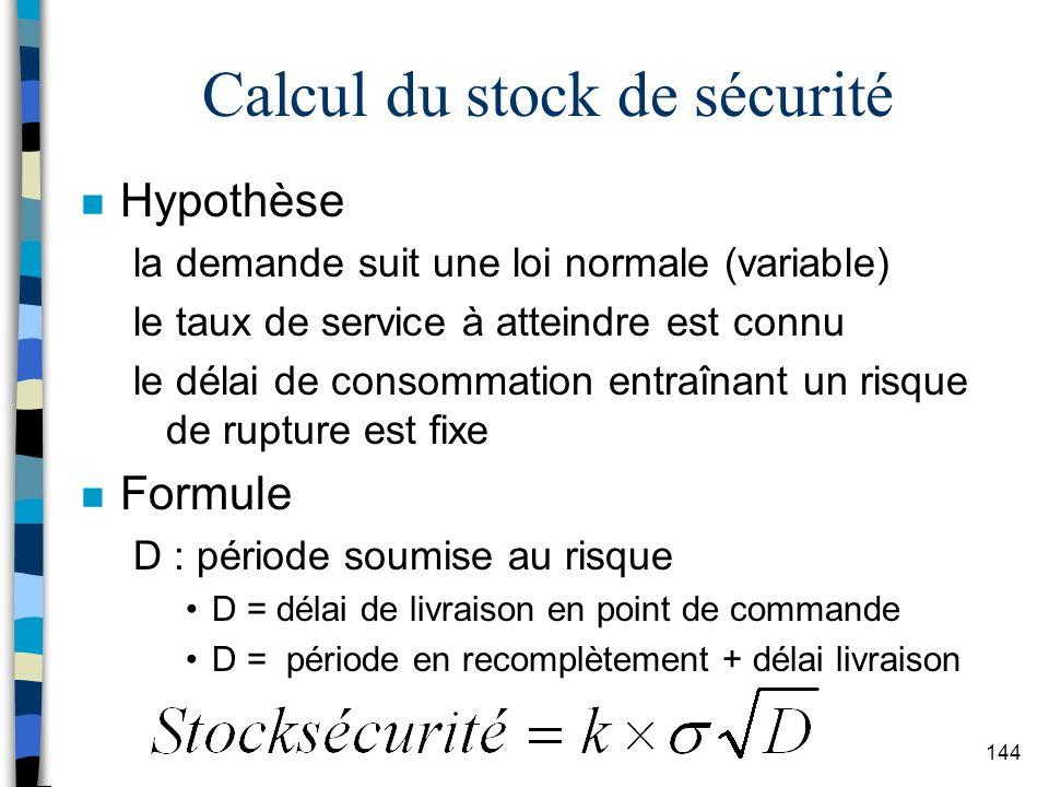 Calcul du stock de sécurité