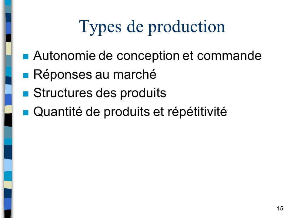 Types de production Autonomie de conception et commande