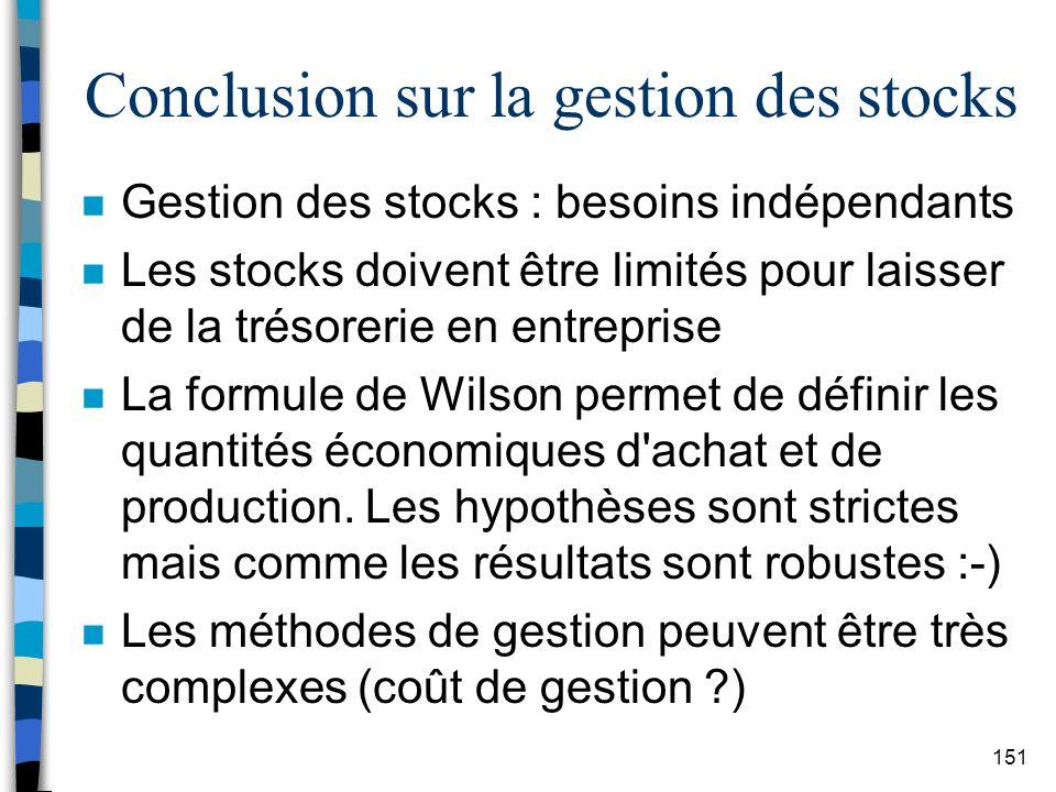 Conclusion sur la gestion des stocks