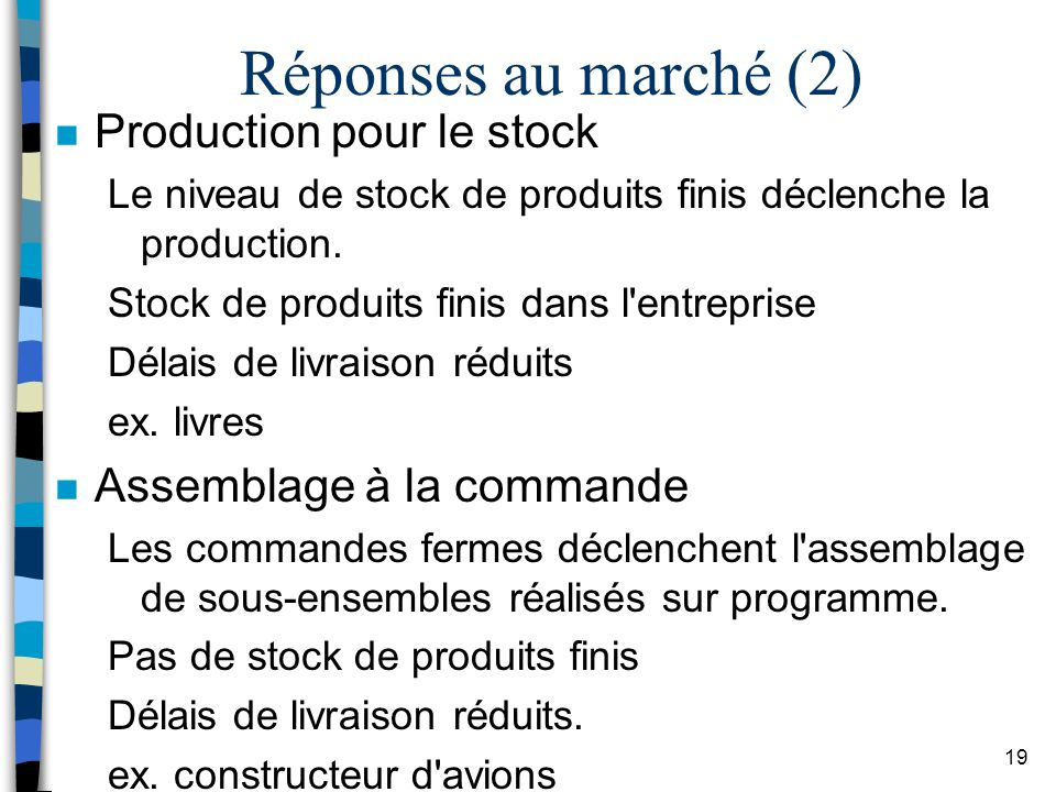 Réponses au marché (2) Production pour le stock