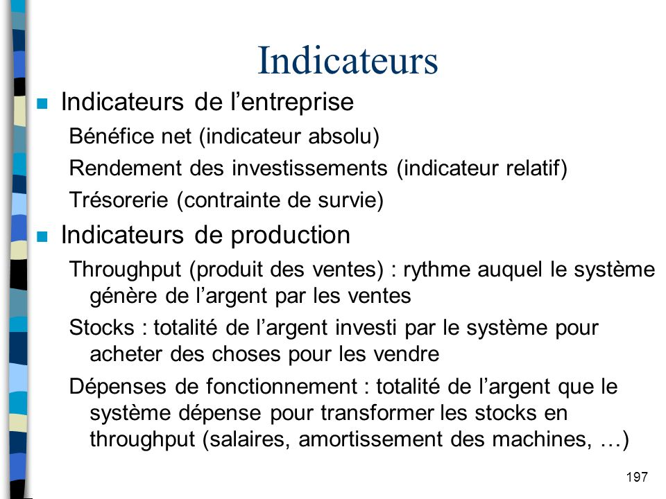 Indicateurs Indicateurs de l'entreprise Indicateurs de production