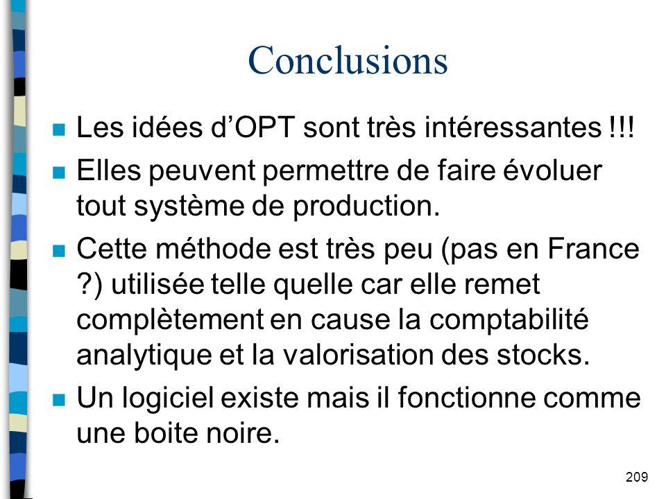 Conclusions Les idées d'OPT sont très intéressantes !!!