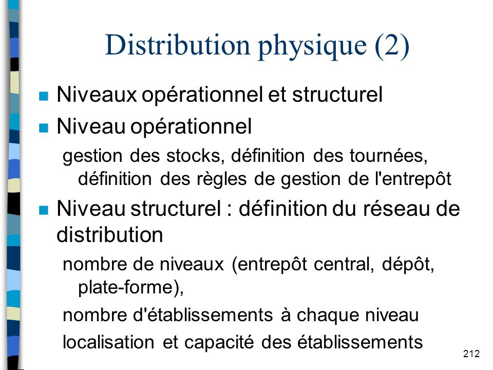 Distribution physique (2)