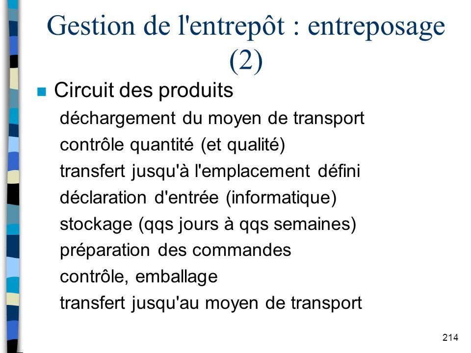 Gestion de l entrepôt : entreposage (2)