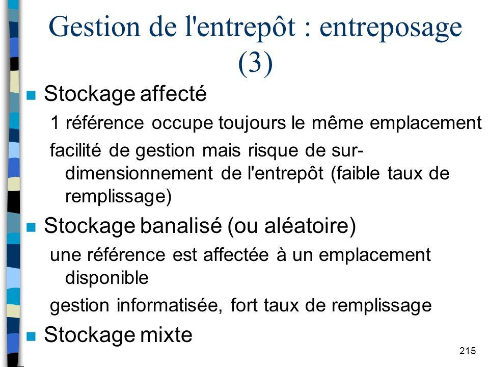 Gestion de l entrepôt : entreposage (3)