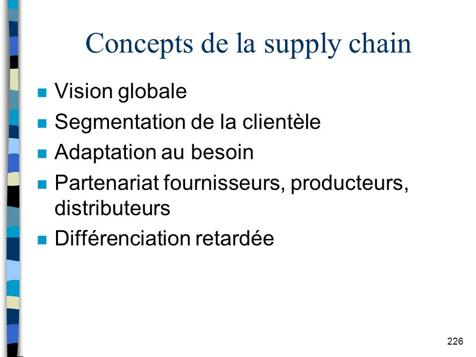 Concepts de la supply chain
