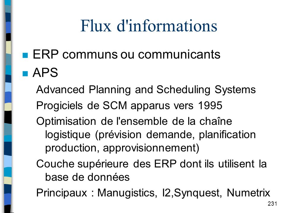 Flux d informations ERP communs ou communicants APS