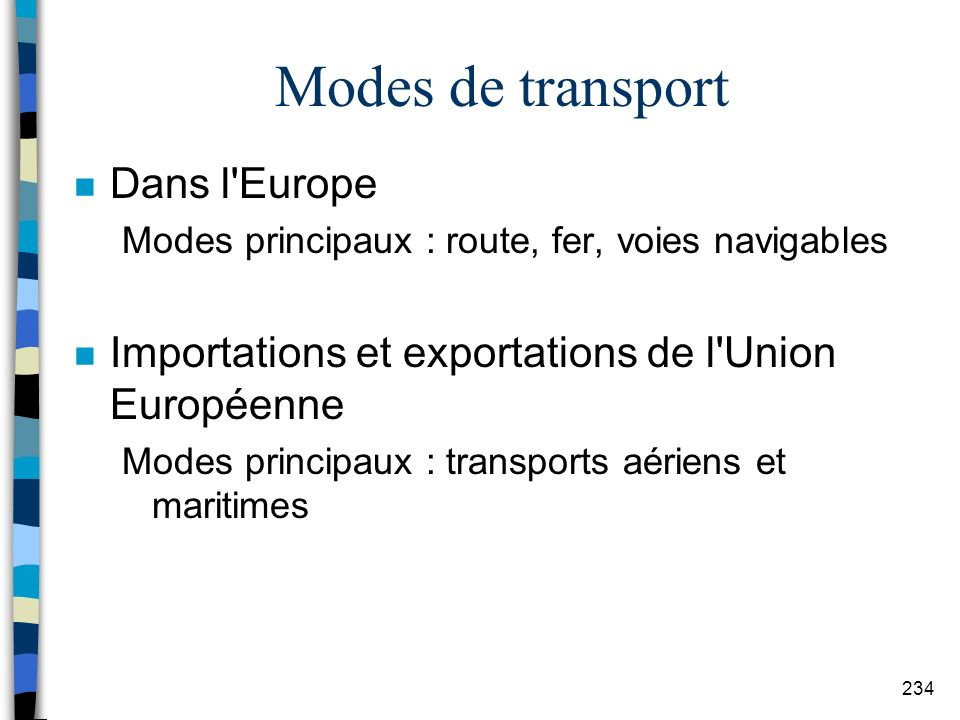 Modes de transport Dans l Europe