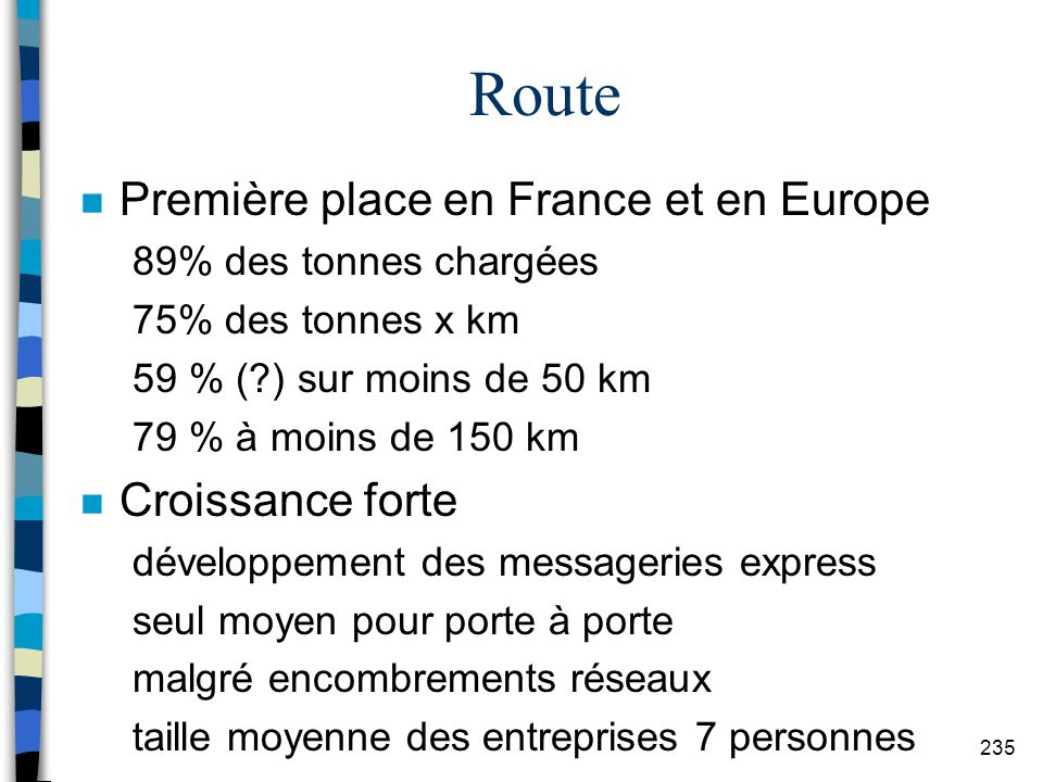 Route Première place en France et en Europe Croissance forte