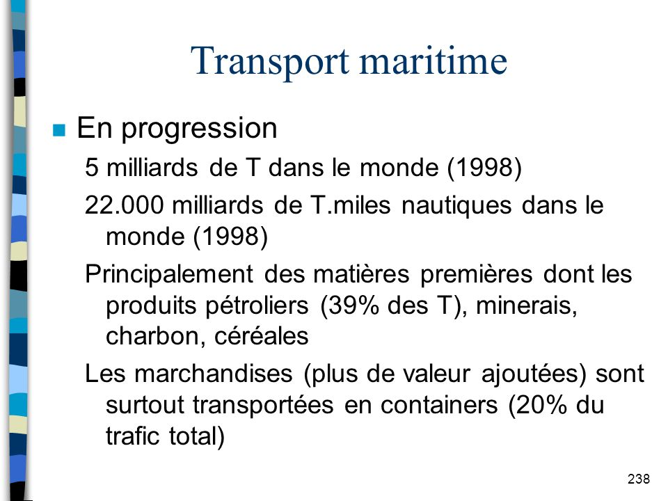 Transport maritime En progression