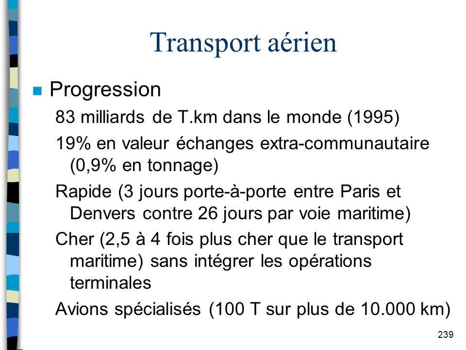 Transport aérien Progression 83 milliards de T.km dans le monde (1995)
