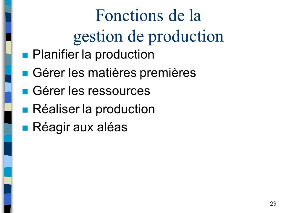 Fonctions de la gestion de production