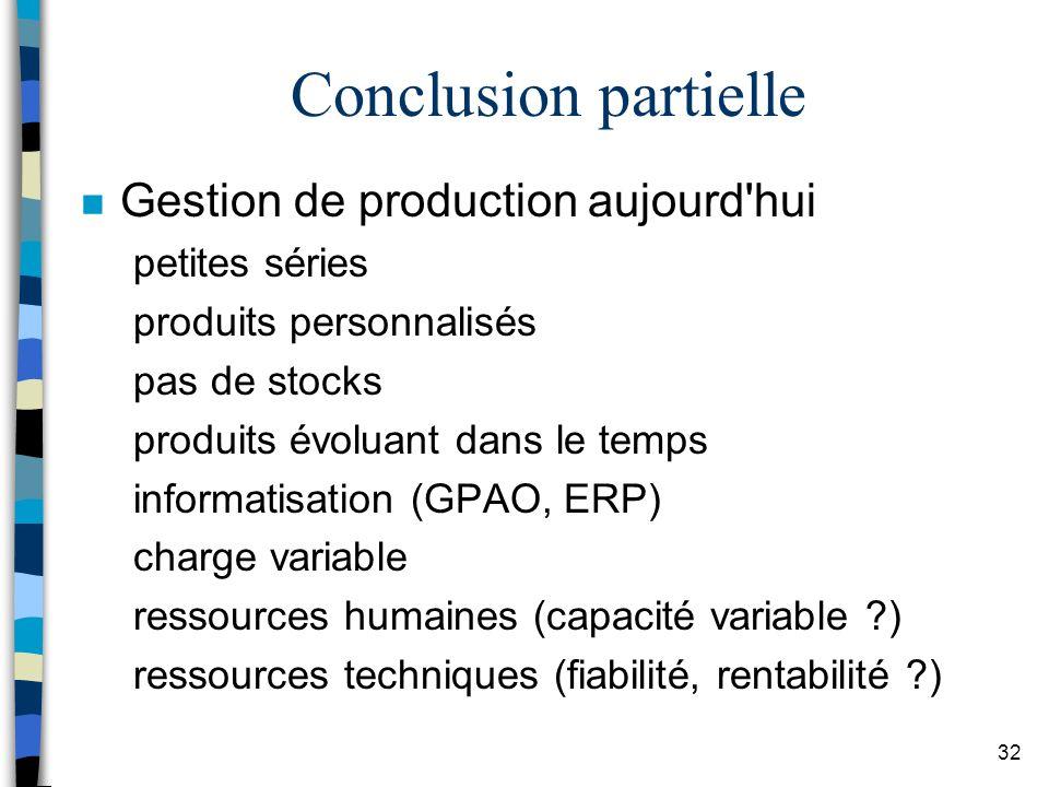 Conclusion partielle Gestion de production aujourd hui petites séries