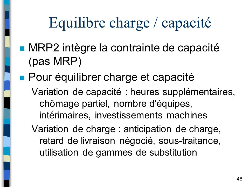 Equilibre charge / capacité