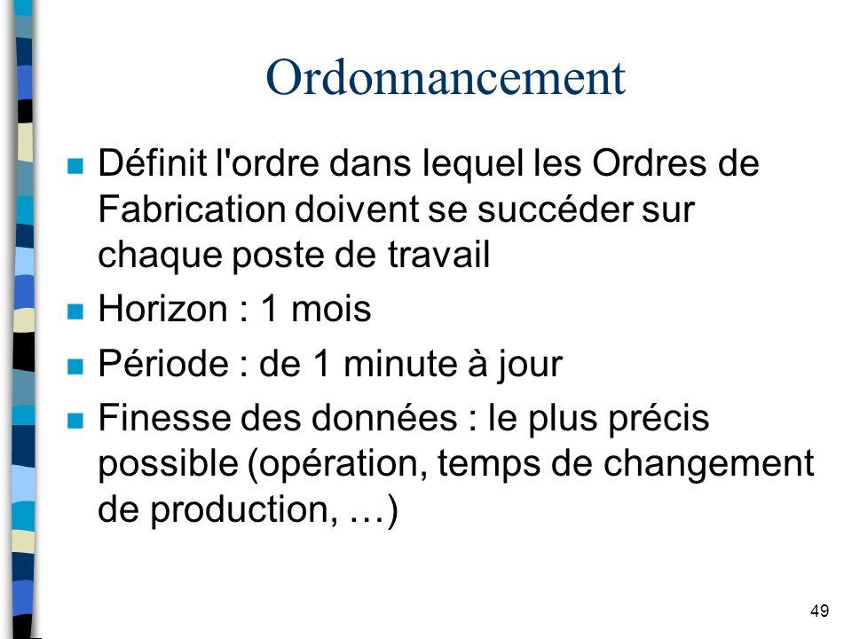 Ordonnancement Définit l ordre dans lequel les Ordres de Fabrication doivent se succéder sur chaque poste de travail.