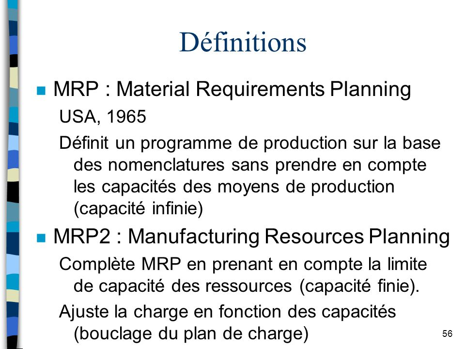 Définitions MRP : Material Requirements Planning