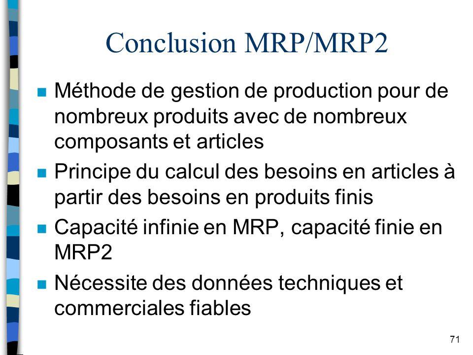Conclusion MRP/MRP2 Méthode de gestion de production pour de nombreux produits avec de nombreux composants et articles.