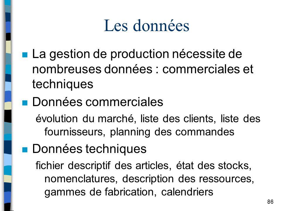 Les données La gestion de production nécessite de nombreuses données : commerciales et techniques. Données commerciales.