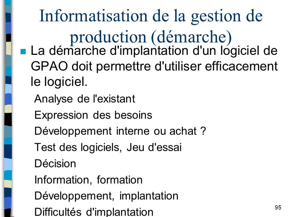 Informatisation de la gestion de production (démarche)