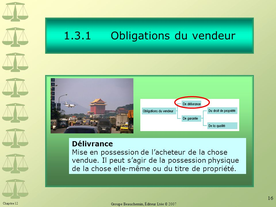 1.3.1 Obligations du vendeur
