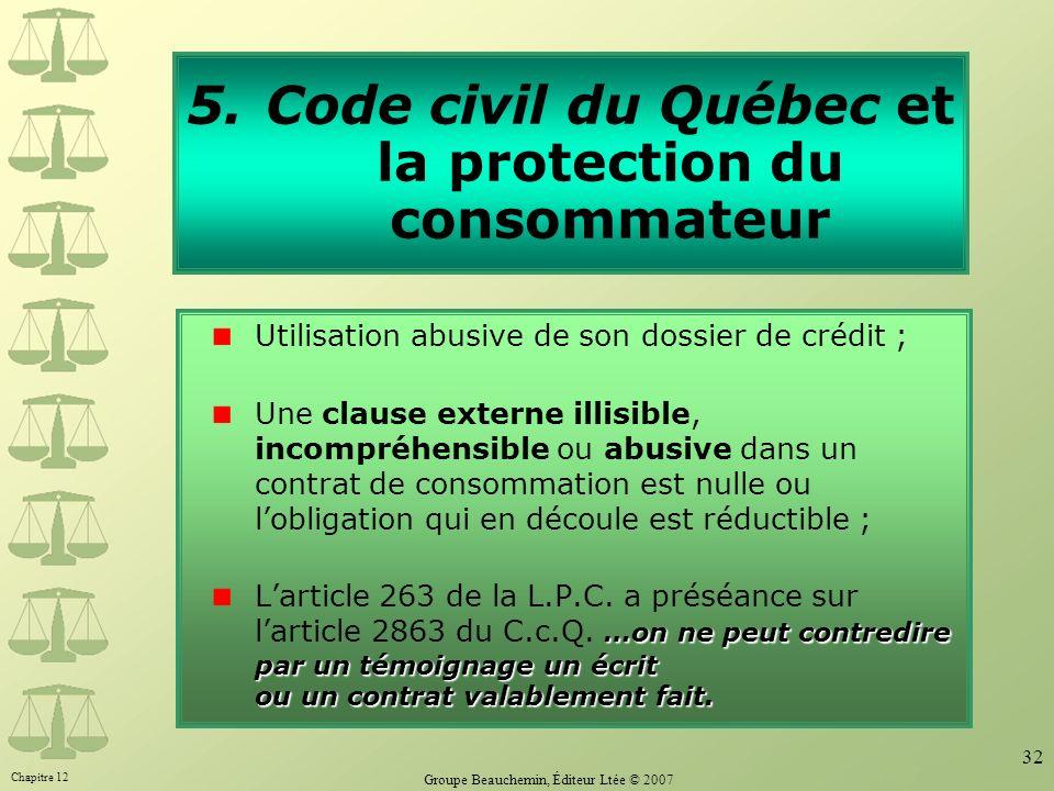 Code civil du Québec et la protection du consommateur