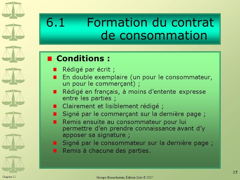 6.1 Formation du contrat de consommation