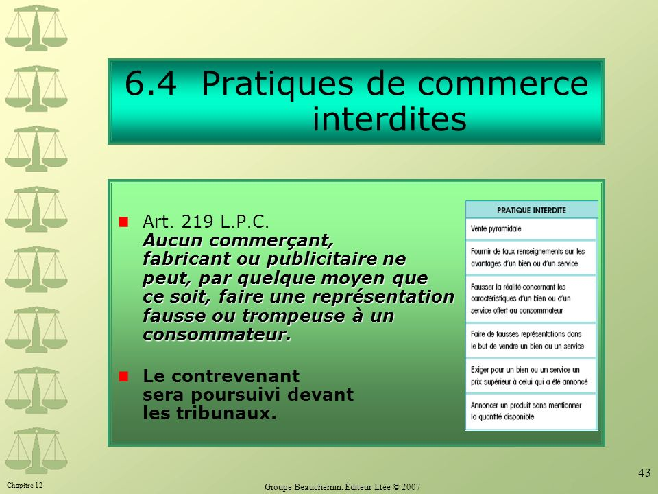 6.4 Pratiques de commerce interdites