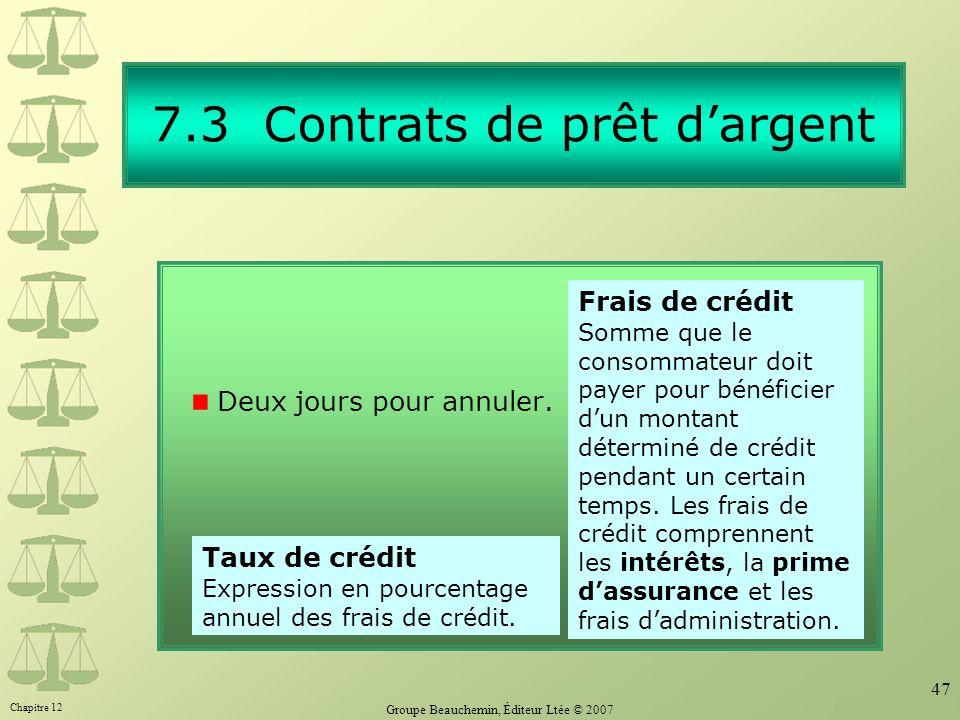 7.3 Contrats de prêt d'argent