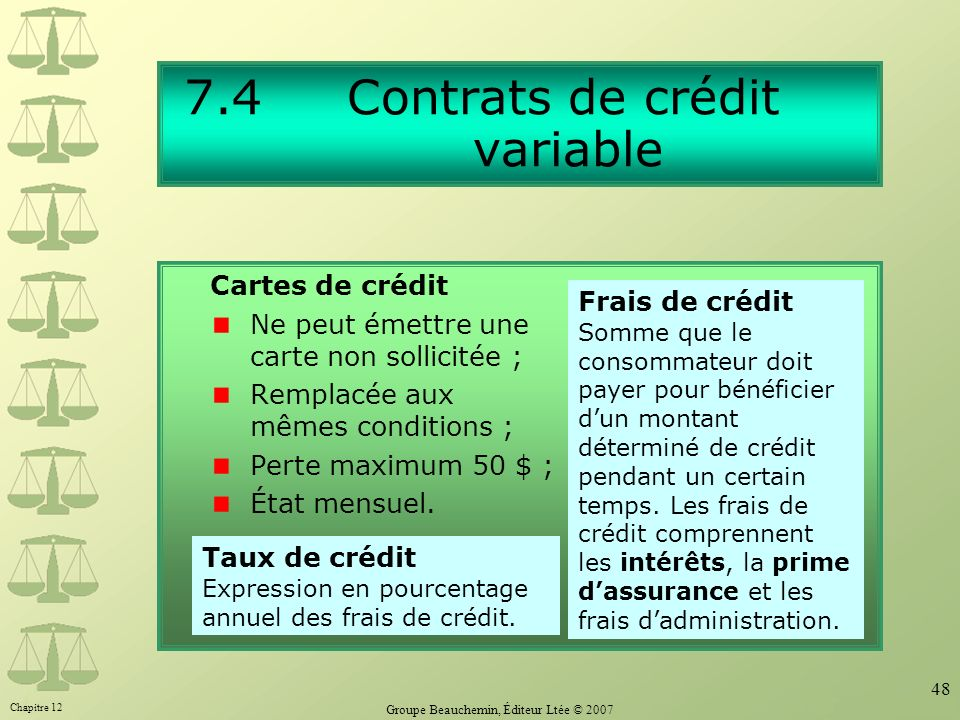 7.4 Contrats de crédit variable