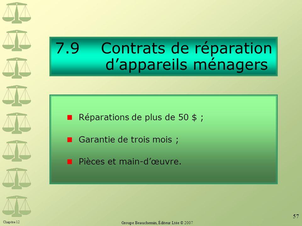 7.9 Contrats de réparation d'appareils ménagers