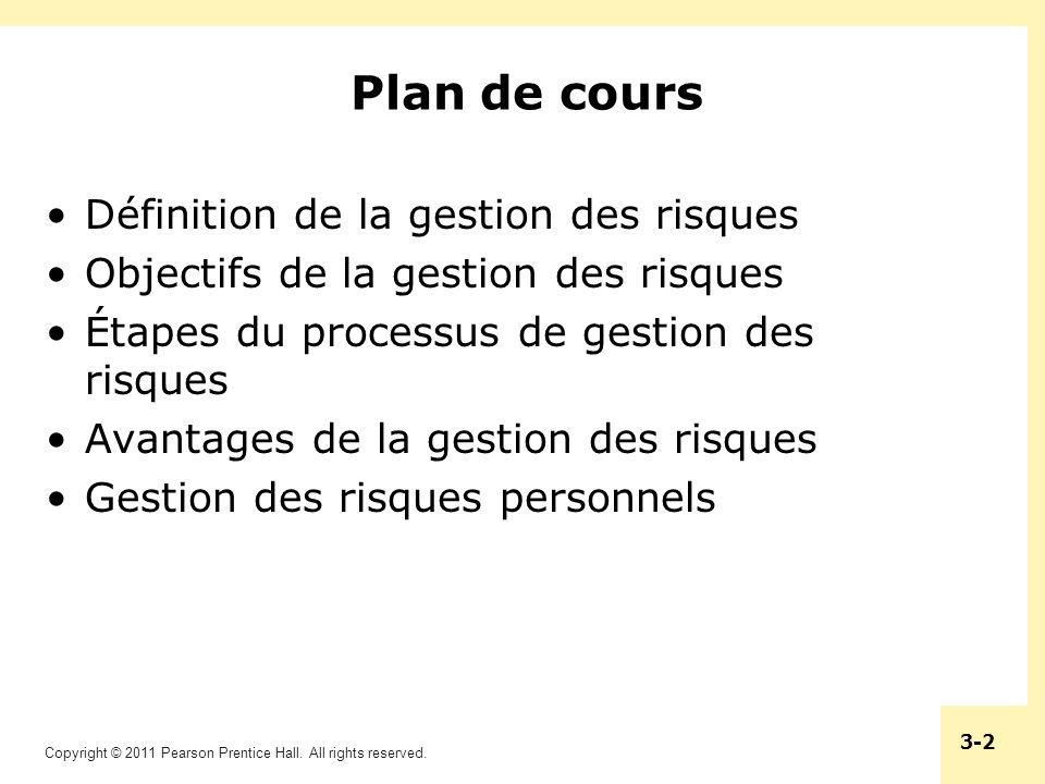 Plan de cours Définition de la gestion des risques