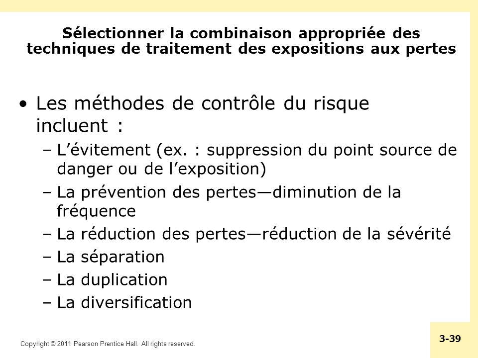 Les méthodes de contrôle du risque incluent :