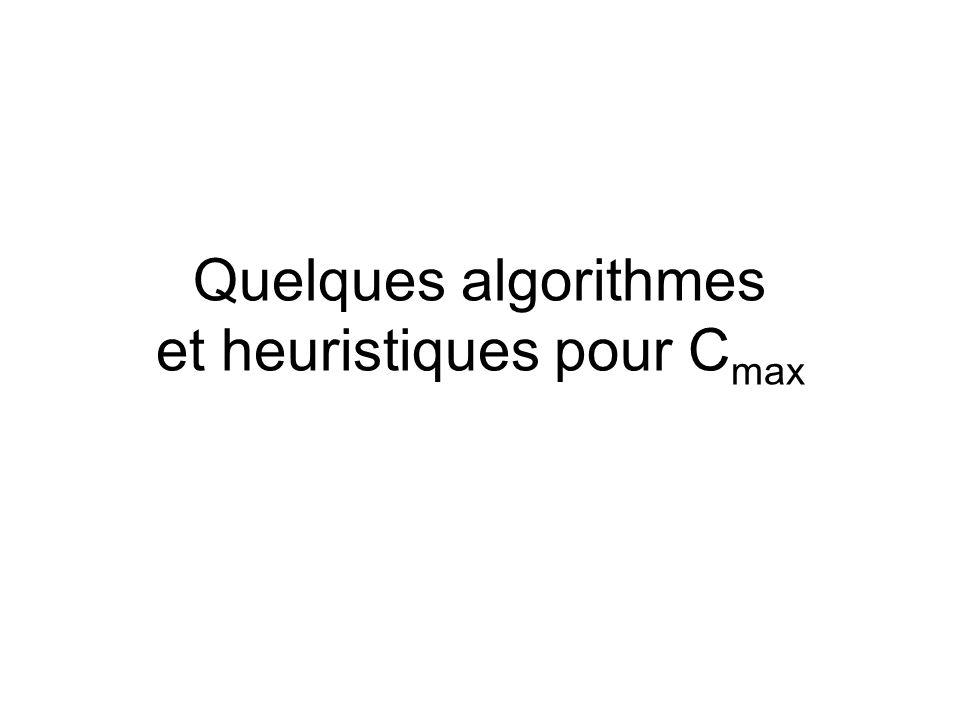 Quelques algorithmes et heuristiques pour Cmax