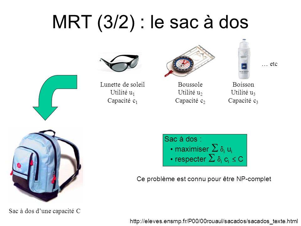 MRT (3/2) : le sac à dos Sac à dos : maximiser  i ui