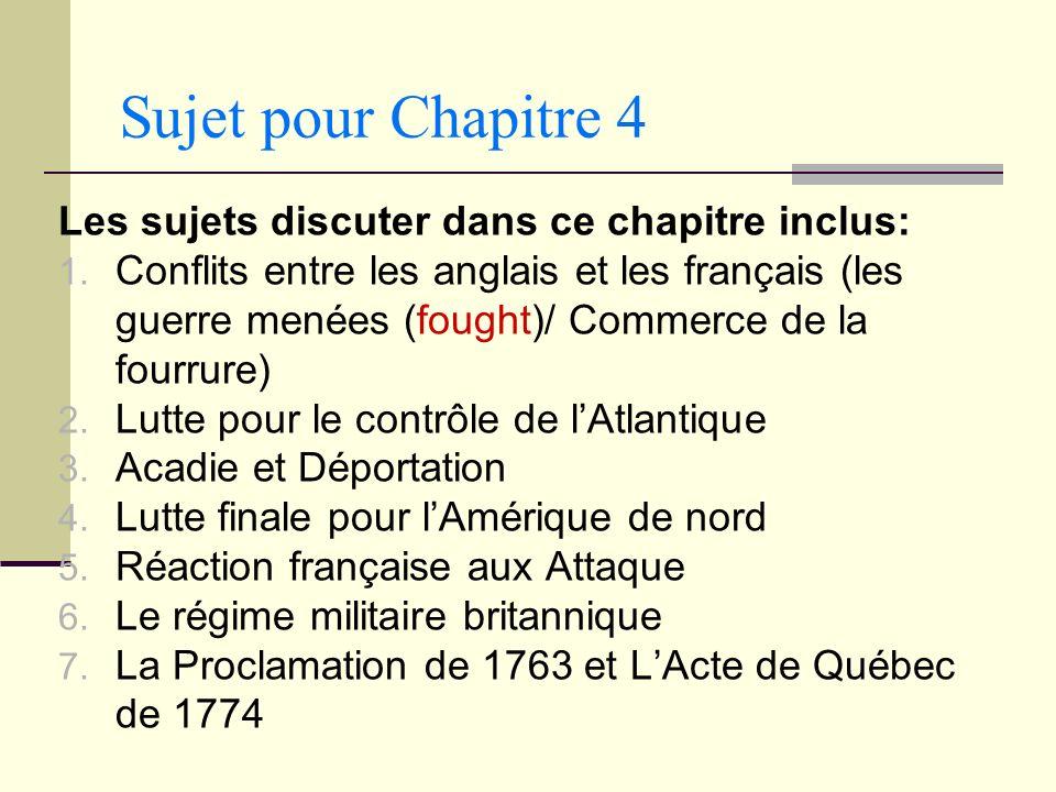 Sujet pour Chapitre 4 Les sujets discuter dans ce chapitre inclus: