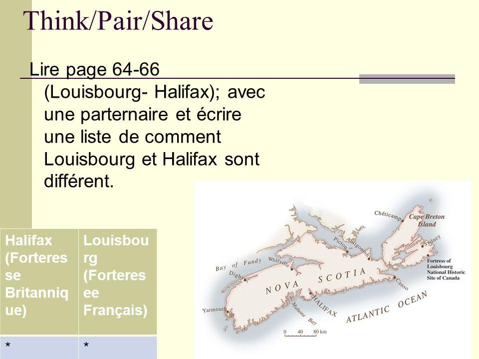 Think/Pair/Share Lire page 64-66 (Louisbourg- Halifax); avec une parternaire et écrire une liste de comment Louisbourg et Halifax sont différent.