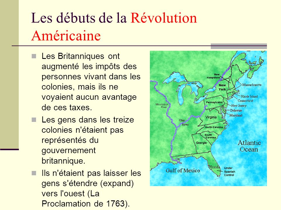 Les débuts de la Révolution Américaine