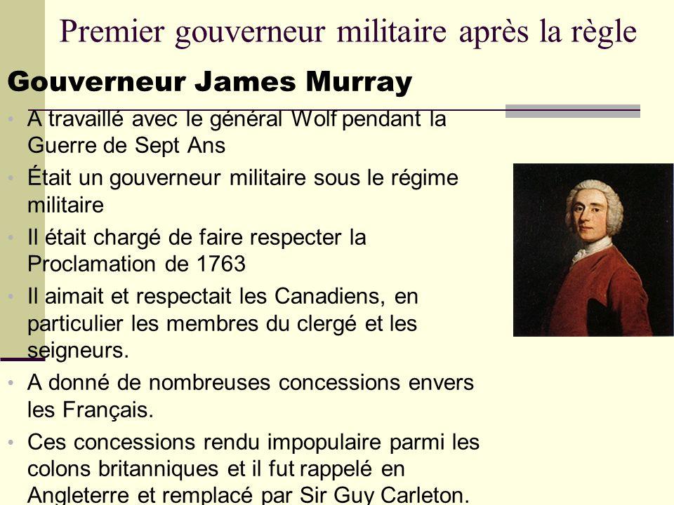 Premier gouverneur militaire après la règle