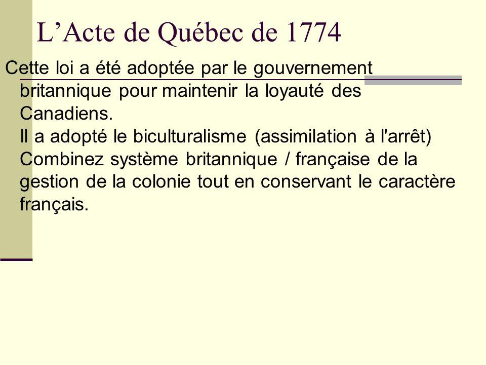 L'Acte de Québec de 1774