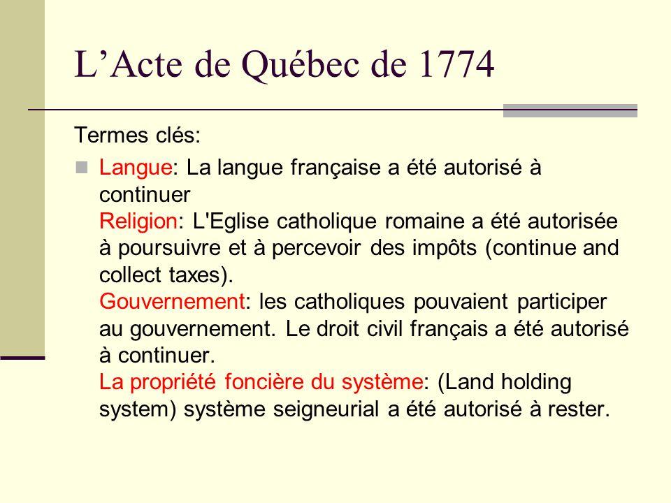 L'Acte de Québec de 1774 Termes clés: