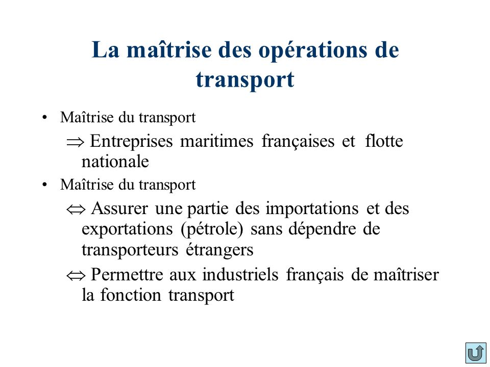 La maîtrise des opérations de transport