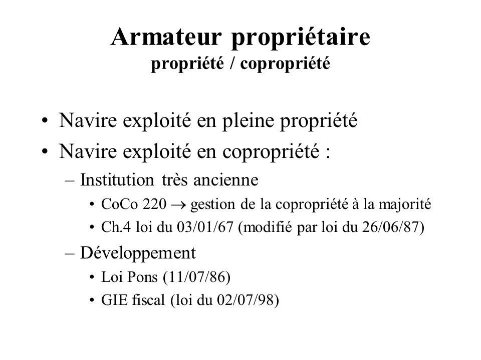 Armateur propriétaire propriété / copropriété