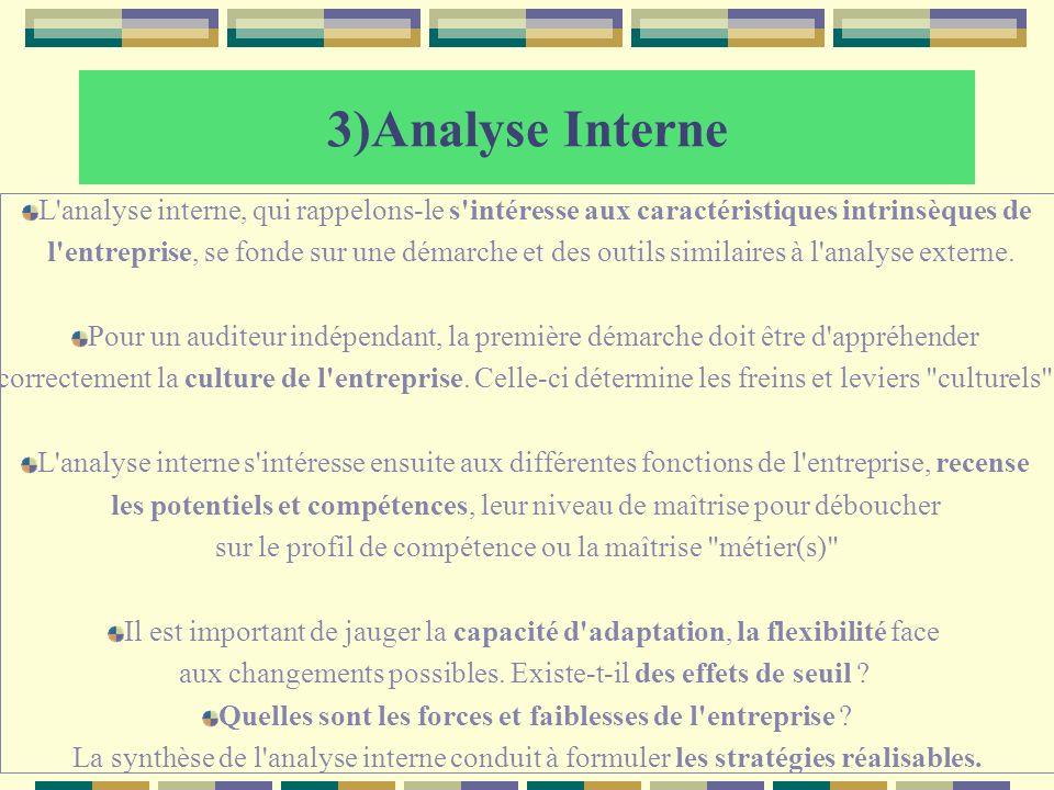 3)Analyse Interne L analyse interne, qui rappelons-le s intéresse aux caractéristiques intrinsèques de.