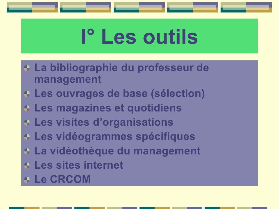 I° Les outils La bibliographie du professeur de management