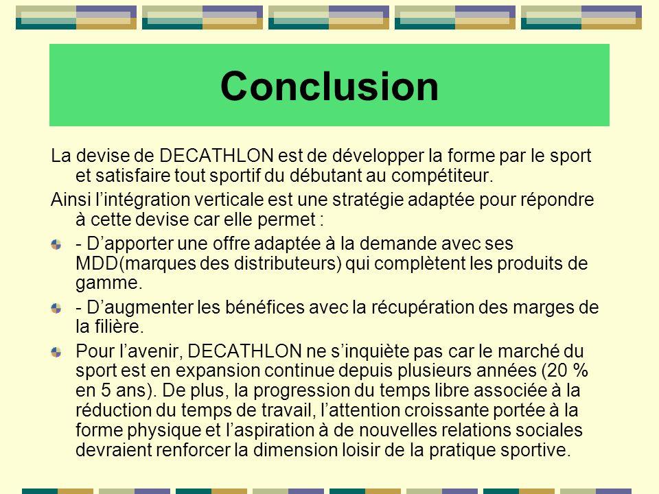 Conclusion La devise de DECATHLON est de développer la forme par le sport et satisfaire tout sportif du débutant au compétiteur.