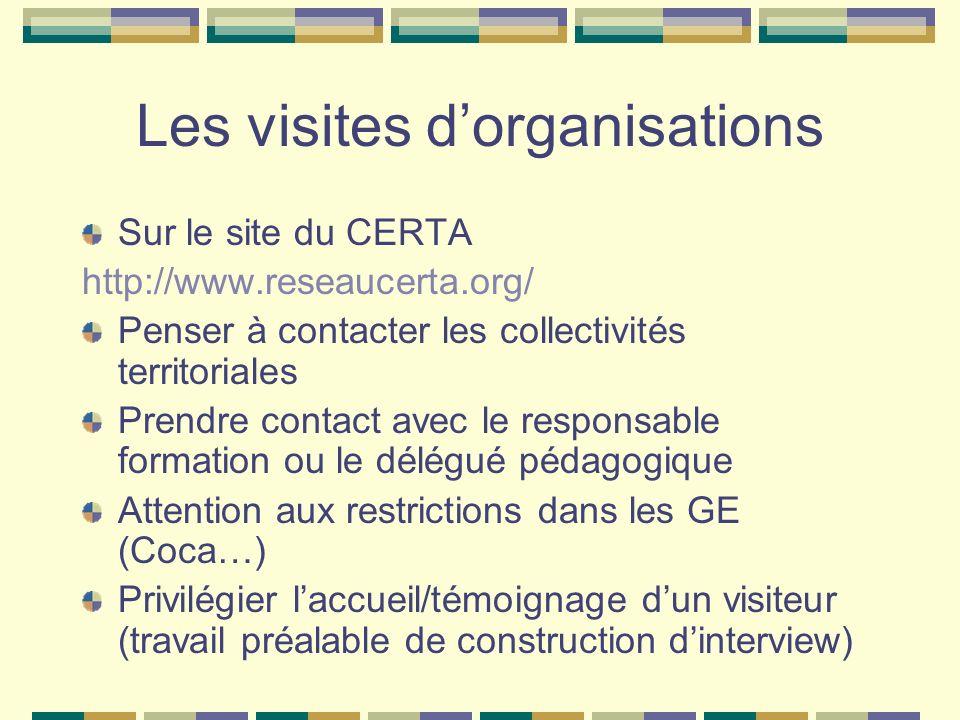 Les visites d'organisations