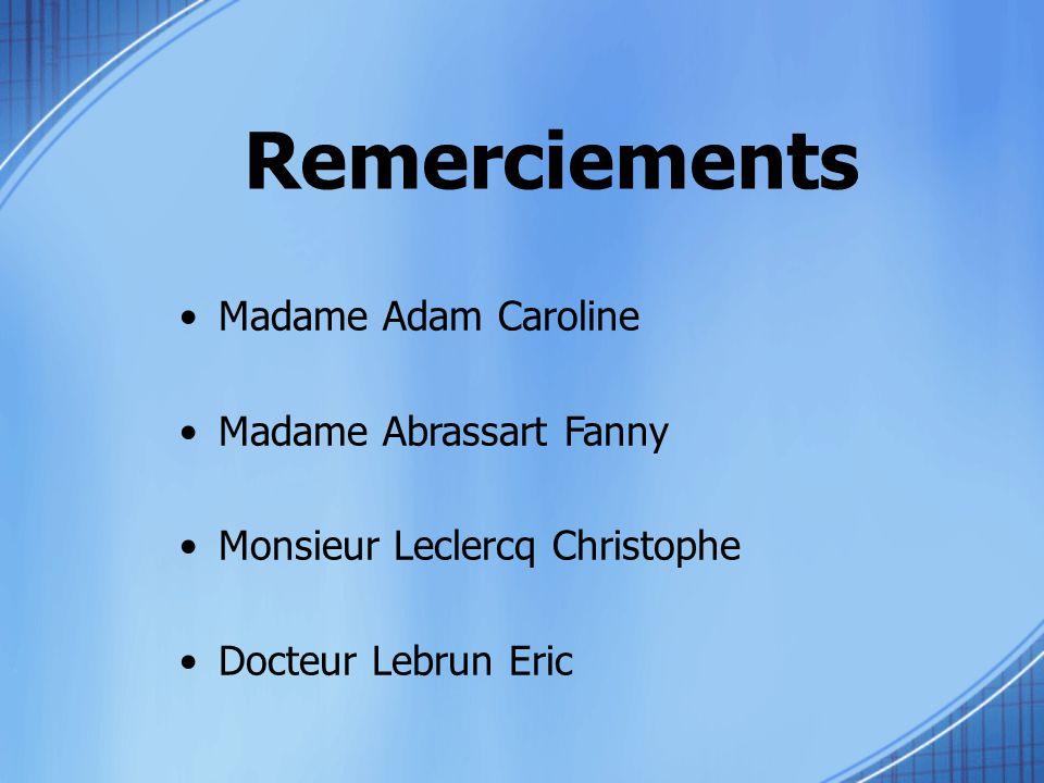 Remerciements Madame Adam Caroline Madame Abrassart Fanny